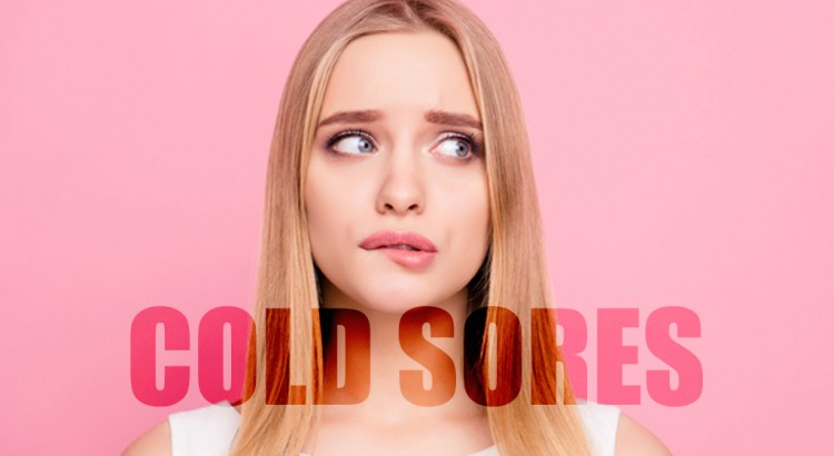 An embarrassed woman with cold sores